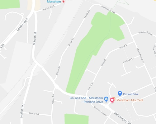 Map of Merstham showing heart pin at the location of Merstham Community Hub, opposite a Co-op supermarket