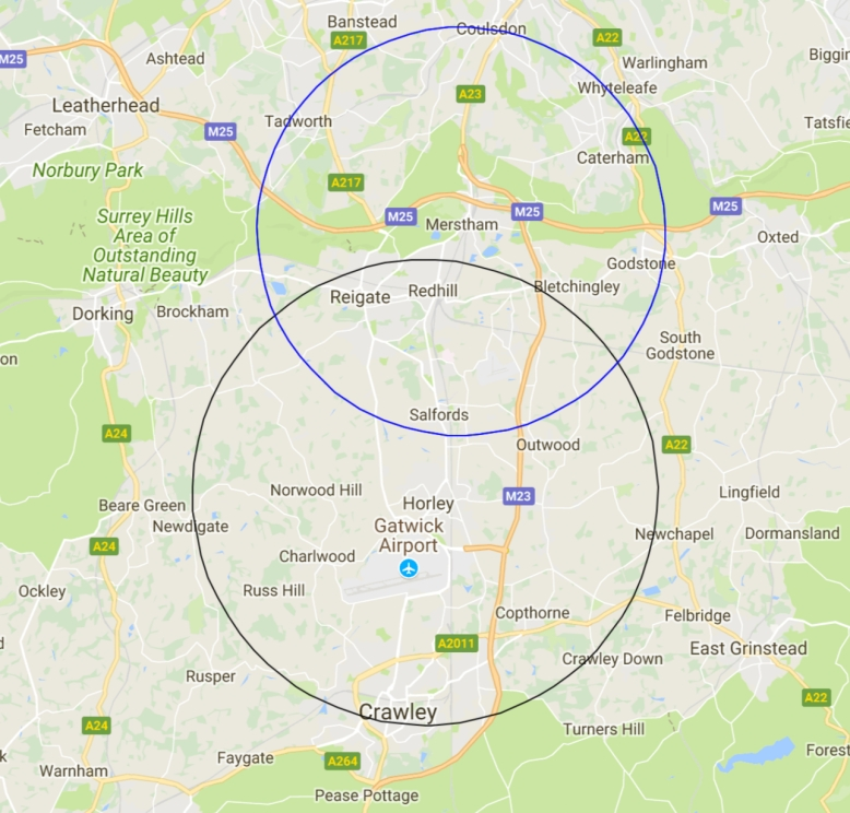 Map of the East Surrey area showing two circles of service area: one centred on Redhill and one on Horley