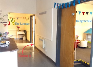 The inside of The Nest, labelled with Imagineville to the left, and the lounge and room 2 at the end of a corridor